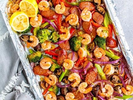 Shrimp & Andouille Sheet Pan Dinner