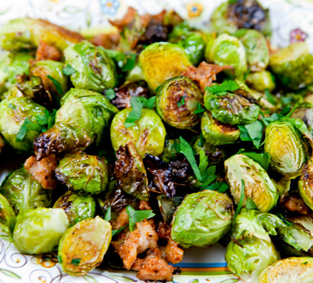 Roasted Brussels Bowls with Spicy Sausage