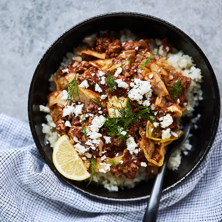 Greek Lamb (or Beef) Cabbage Bowls