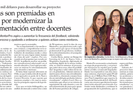 MentorPro is highlighted by El Mercurio as an education innovation of high social impact