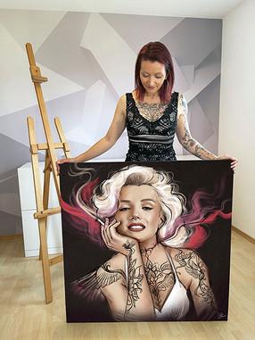 Auftragsportrait Marilyn mit Tattoos