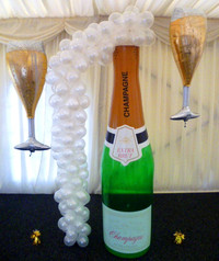 6ft Champagne bottle + 100 bubbles.