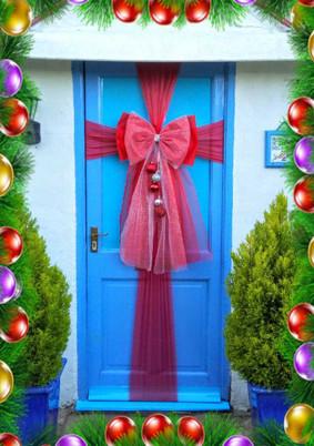 Christmas Baubles Door Bow!