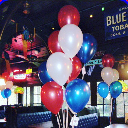 Red, white and blue balloons at Zaks!
