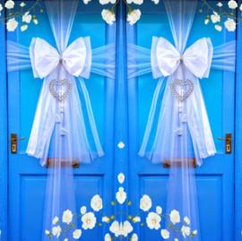 Double White Wedding Door Bows!