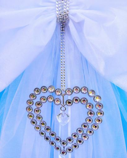 Diamante Double Heart Door Bow!