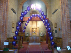 1 balloon for every year of life. Very sad funeral.