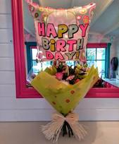 Beautiful Happy Birthday Flowers & Balloon.
