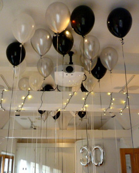 Balloon ceiling with photos attached.