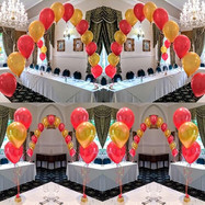 Ruby red and glam gold balloons.