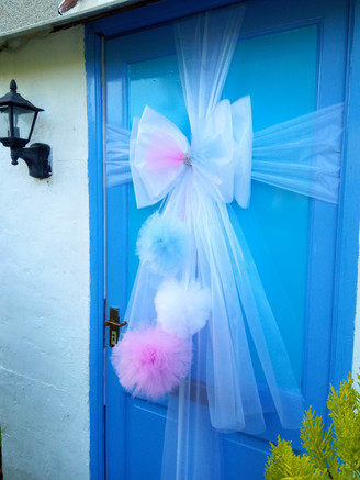 Pink and Blue Pom Pom Door Bow!