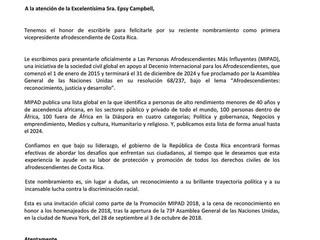 EL IEA Y MIPAD 100 FELICITAN A SU EXCELENCIA EPSY CAMPBELL (1era VICEPRESIDENTA AFRODESCENDIENTE DE