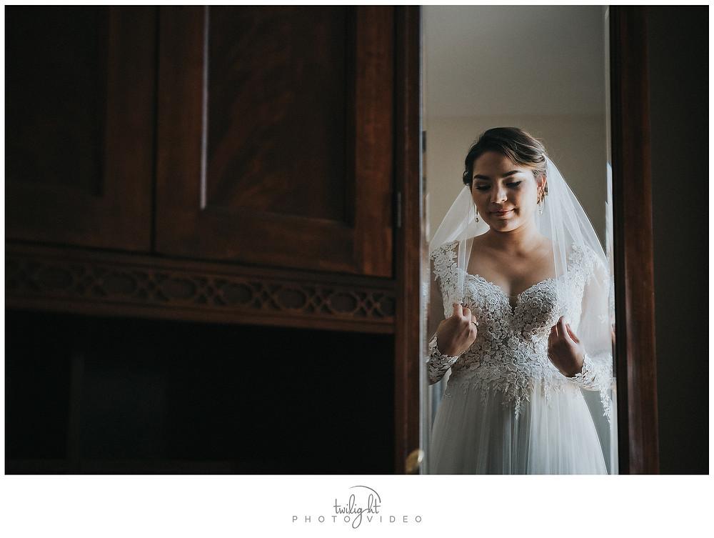 Bride in a mirror-El Paso Wedding Photography