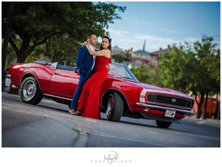 El Paso Engagement Photo Session with Classic Car - Emily & Luis