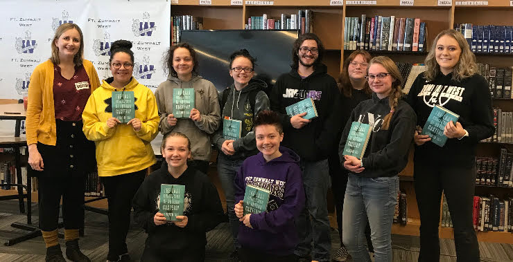 FZ West High students pose with their shiny new copies of The Last Confession of Autumn Casterly and author, Meredith Tate!