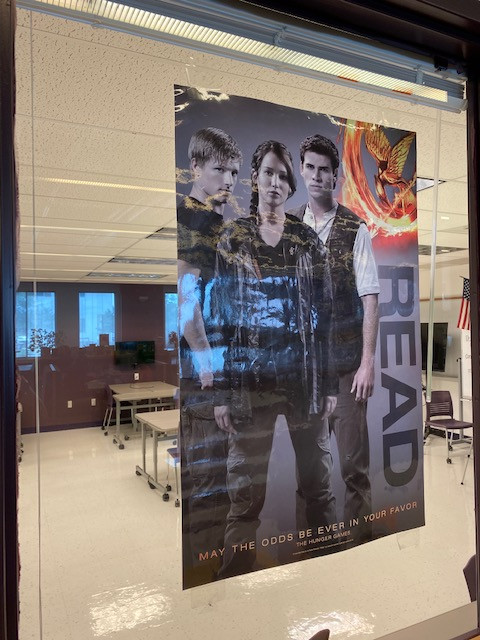 This Hunger Games READ poster (ALA) has been hanging in the Fort Zumwalt West HS Library since 2012.