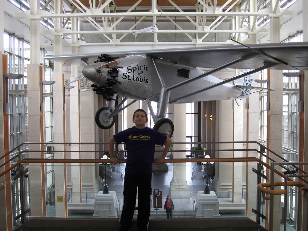 Jake poses with the replica of the Spirit of St. Louis at the St. Louis History Museum in January of 2011