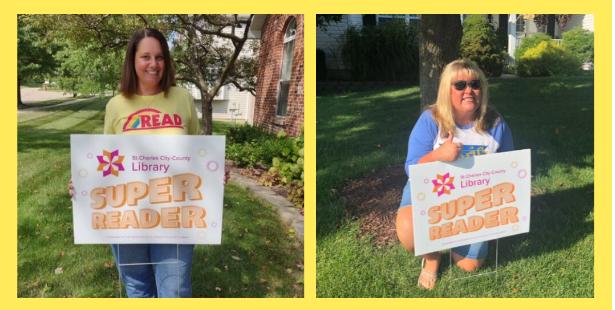 Mrs. O'Daniels & Mrs. Grieshaber earn their Super Readers signs!