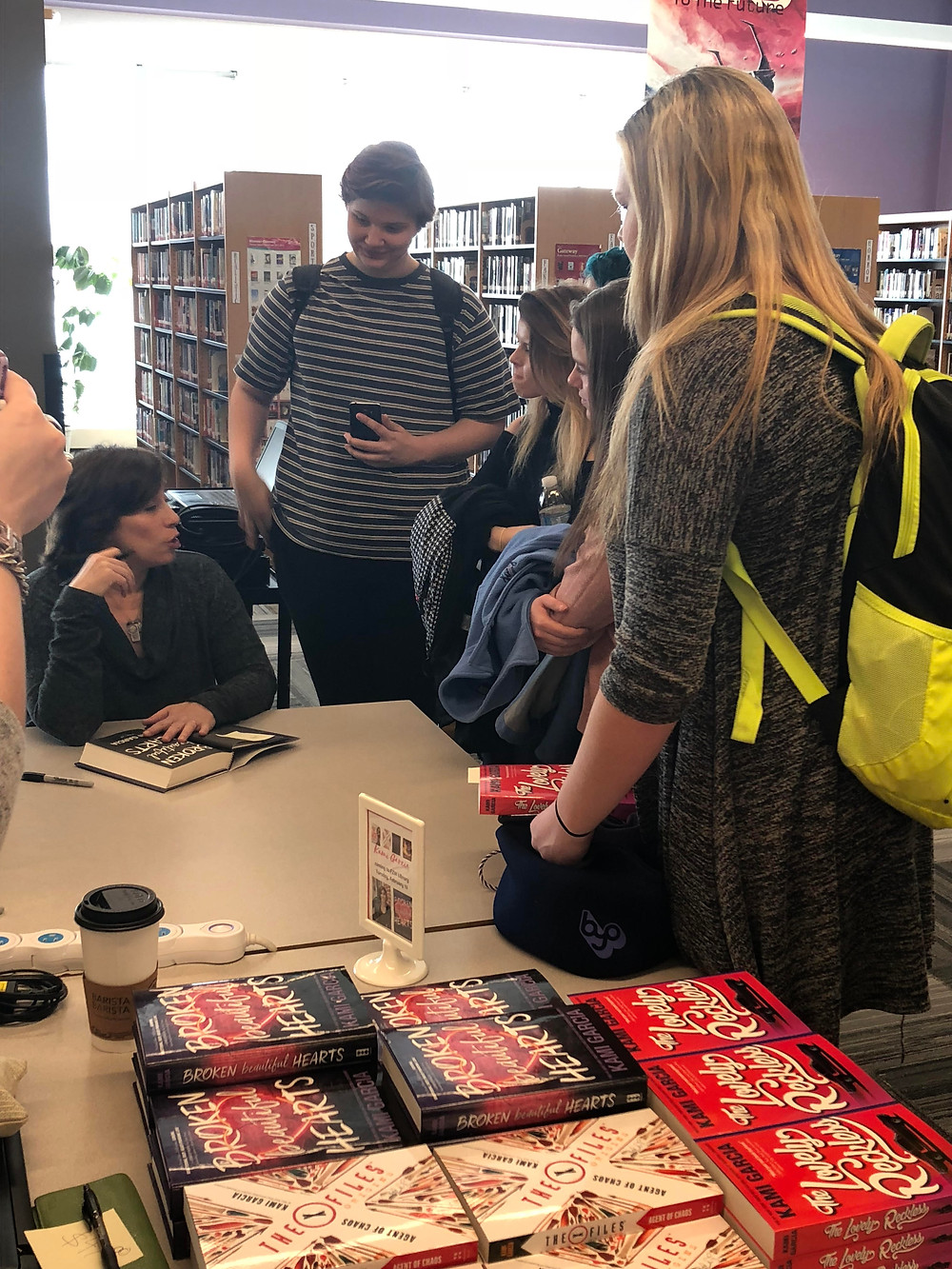Kami Garcia, autographing books and chatting with FZW students