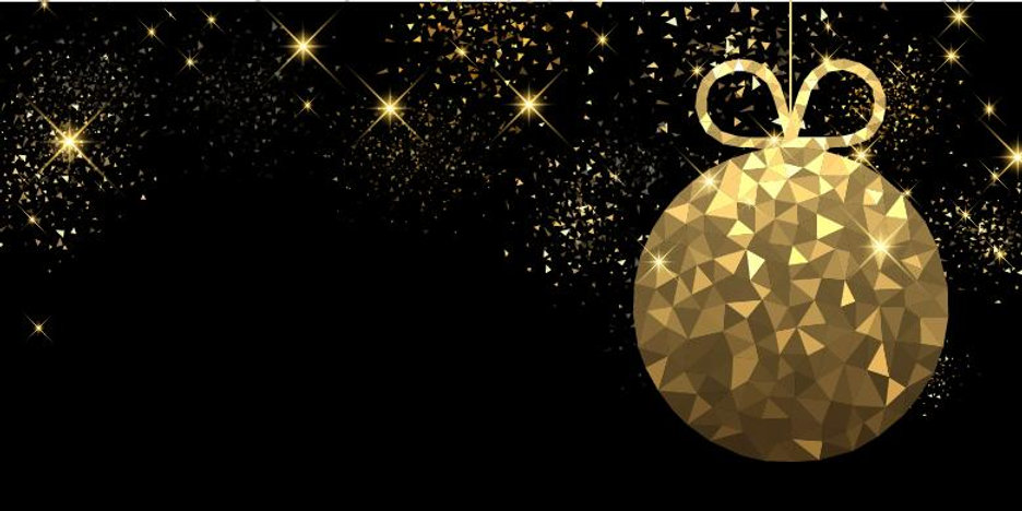 Golden-christmas-ball-with-black-backgro