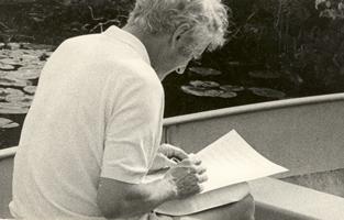 Composing in the rowboat at Yankee Lake, 1974