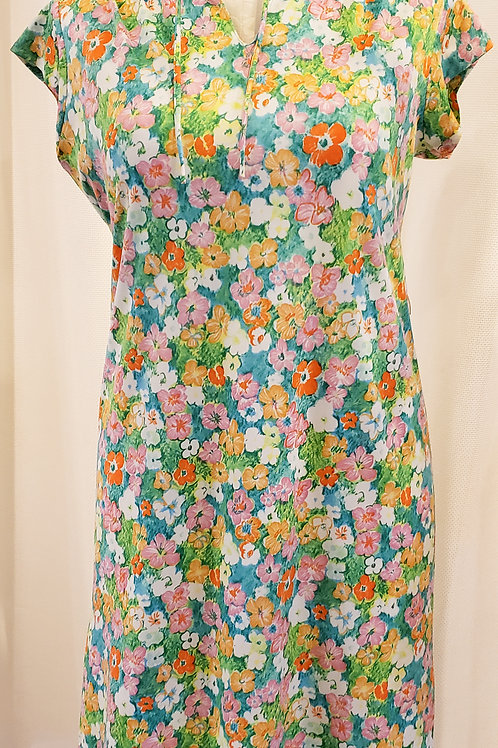 Vintage Floral Short-Sleeve Dress