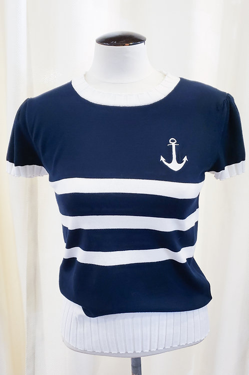 Vintage-Inspired Striped Anchor Top