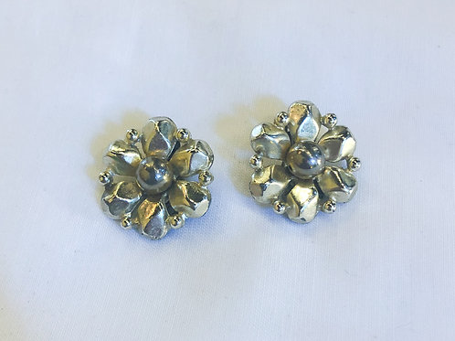 Vintage Silver and Gold Cluster Clip-On Earrings