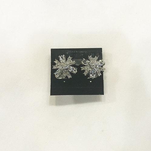 Vintage Rhinestone Flower Clip-On Earrings