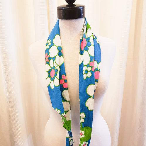 Vintage Blue Floral Scarf