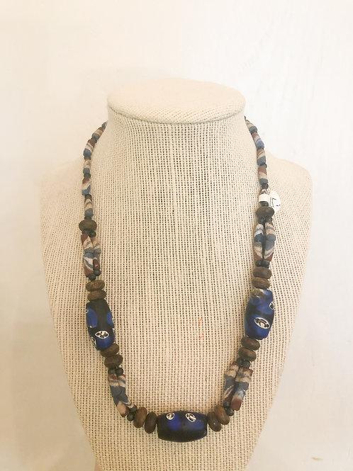 Vintage Blue Patterned Beaded Necklace