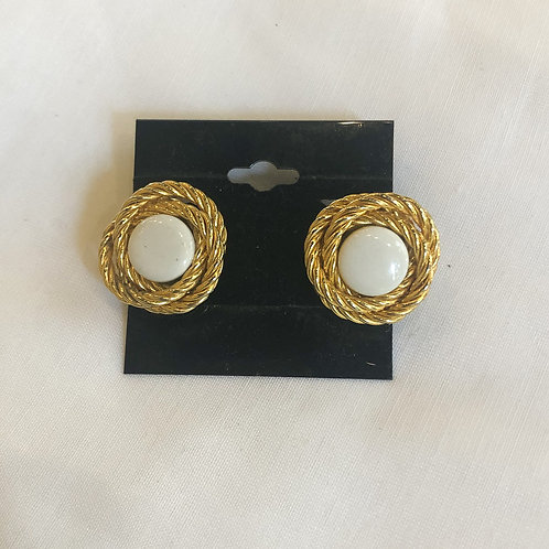 Vintage White and Gold Braided Clip-On Earrings