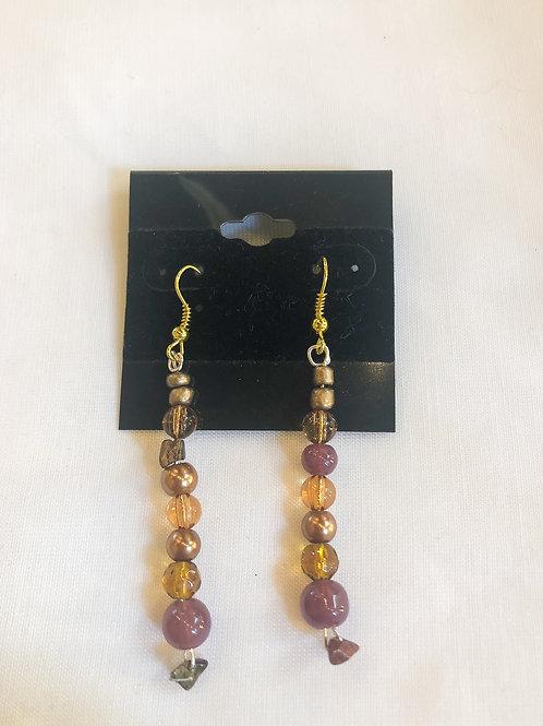 Vintage Purple Beaded Dangle Earrings