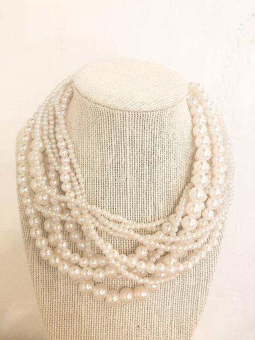 Vintage Pearl Cluster Necklace