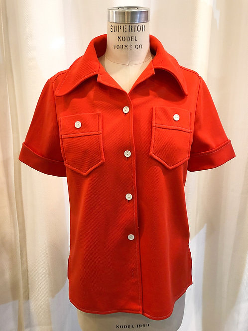 Vintage Red Short-Sleeved Button Up