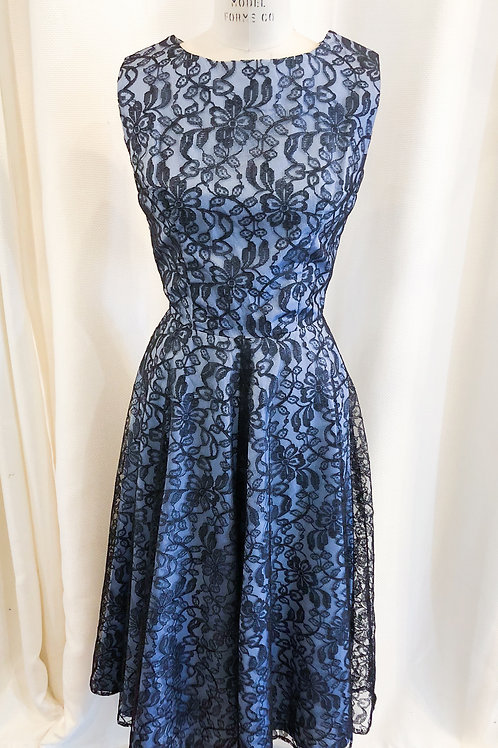 Vintage Blue Dress with Black Lace Overlay