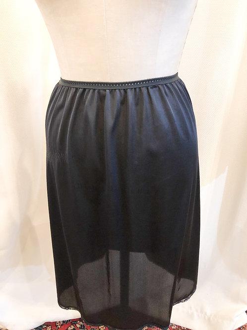 Vintage Black Slip with Center Back Slit