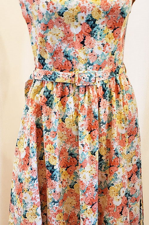 Vintage-Inspired Multicolored Floral Dress
