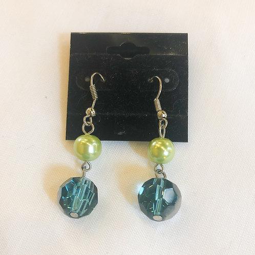 Vintage Green and Blue Drop Earrings