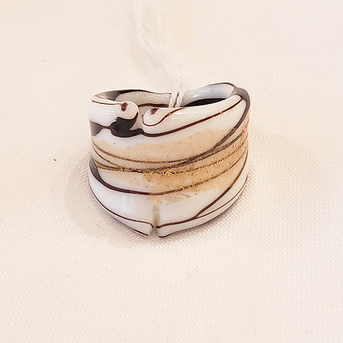 Vintage Brown and White Handmade Ring