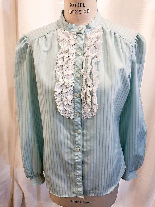 Vintage Blue Striped Le Comte Blouse