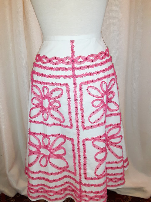 Vintage Pink and White Et Cetera Skirt