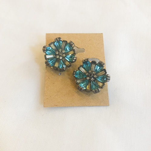 Vintage 1940's Blue Flower Clip-On Earrings