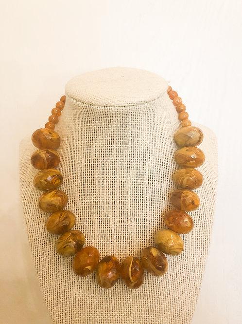 Vintage Brown Marbled Beaded Necklace
