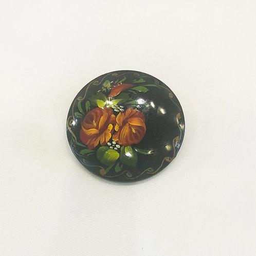 Vintage Floral Painted Brooch