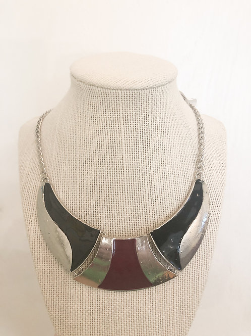 Vintage Burgundy and Black Bib Necklace