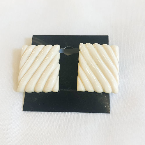 Vintage White Quilted Earrings