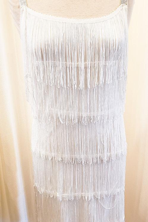 Vintage-Inspired White Fringe Dress