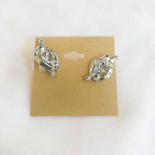 Vintage Silver Rhinestone Screw-back Earrings