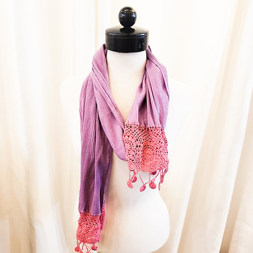 Vintage Purple and Pink Crochet Scarf